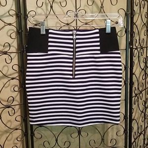 Nautical Striped Zipper Mini Skirt